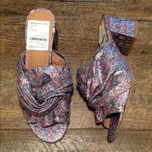6.5 Halogen Sparkly Fabric Mules Sandals Resort